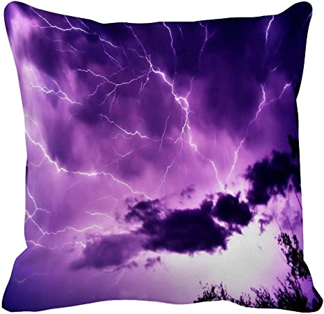 Amazon Com Xueyu Purple Lightning Throw Pillow Cover 16 In Home Kitchen