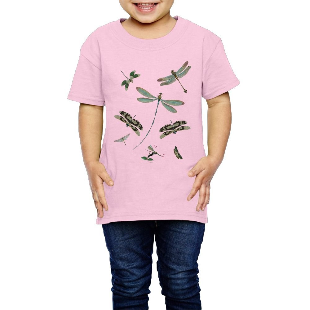 Yishuo Children Vintage Dragonflies Funny Tennis Shirt Short Sleeve Pink 2 Toddler