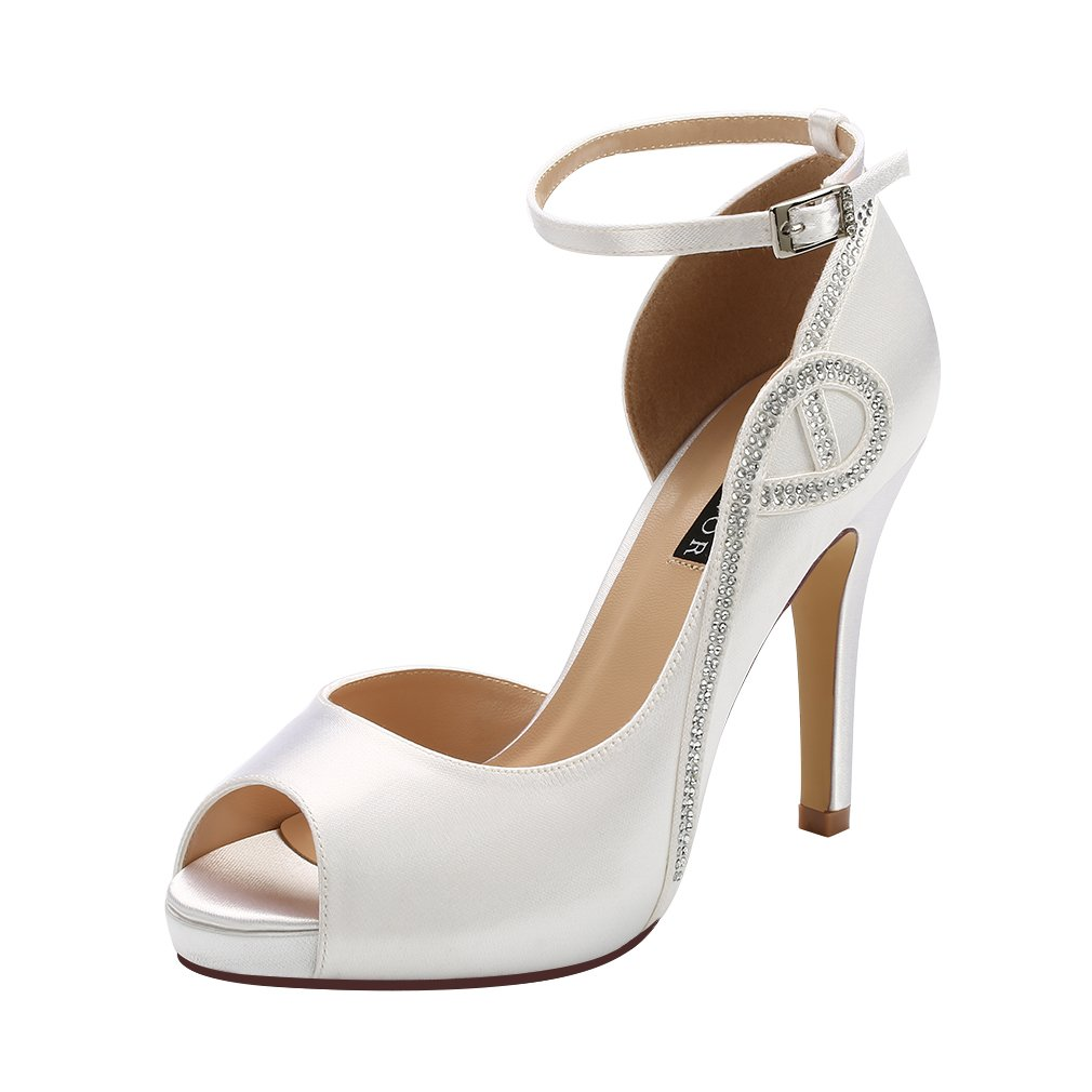 ERIJUNOR E8816 Women Peep Toe Side Open Rhinestones Comfortable Platform Satin Bridal Wedding Party Shoes White Size 7