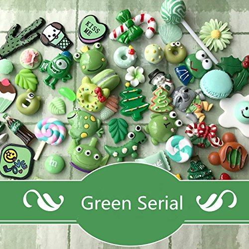 AMOBESTER DIY Craft Resin Cabochons Deco Kit for Children Fresh Green Serial