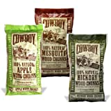 Cowboy Chips 100% All Natural Grill & Smoker Wood Chips (Variety 3 Pack, 180 cu in each) (Apple, Hickory, Mesquite)