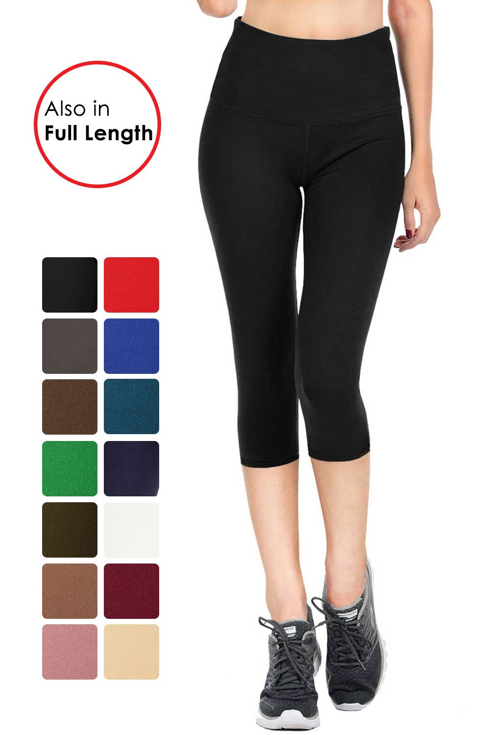 VIV Collection Signature Capri Leggings Soft w Pocket (XXL, Black)