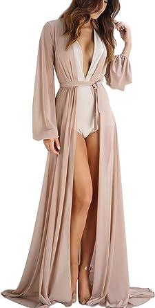 Xsayjia Mujer Gasa Kimono Chaqueta de Punto para Camisa Playa Capa Bikini Cubren Punta Kimono Blusa