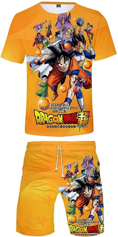 Conjunto de Camiseta y Pantalones de Dragon Ball para Ni/ños Ni/ñas Pantalones Cortos para Ni/ños Conjunto de Pijamas
