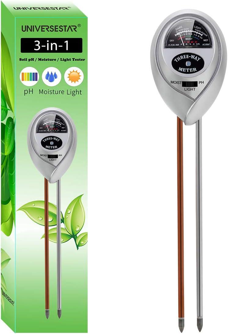 Soil pH Meter 3-in-1 Soil pH, Moisture, Light Tester Soil Tester Kits for Garden, Farm, Lawn, Indoor & Outdoor Plants, Gardening Tool Kits for Plants Care