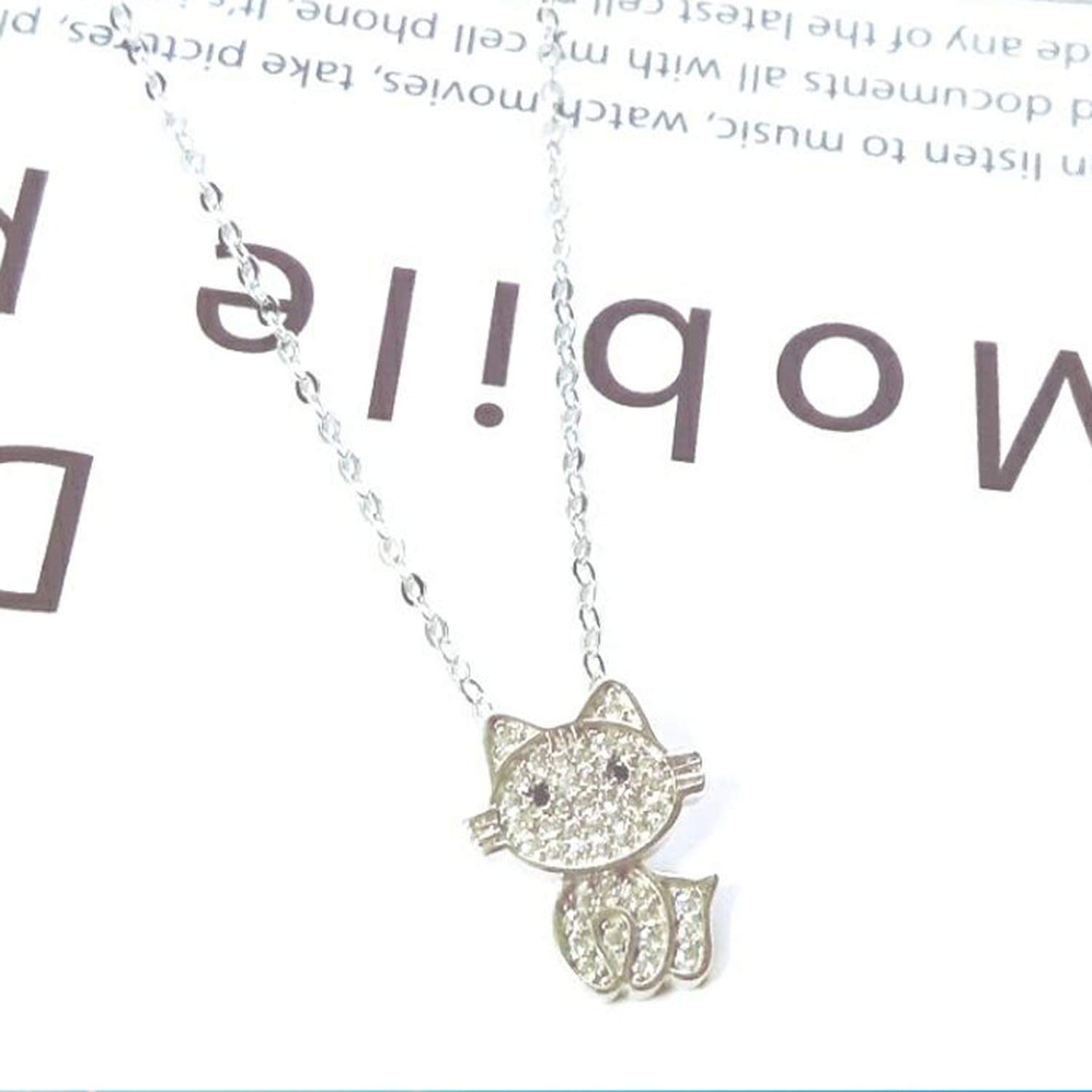 Simple cartoon kitten pendant necklace S25 sterling silver cat cute girl clavicle chain,White,L