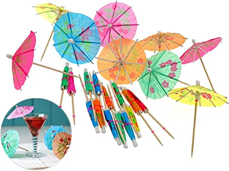 Cocktail Drink Umbrellas,Cupcake Toppers for Hawaiian Party and Pool Party Supplies JETEHO 144Pcs Assorted Colors Handmade Umbrella Picks Cocktail Sticks Umbrella Parasol Cocktail Picks