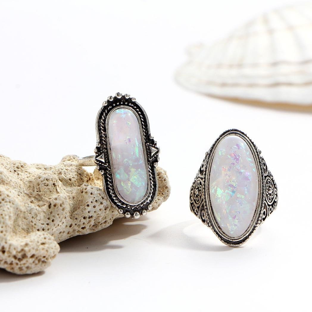 SMALLE◕‿◕ Clearance,8PC Boho Jewelry Silver Natural Gemstone Marquise Moonstone Personalized Ring by SMALLE◕‿◕ (Image #6)