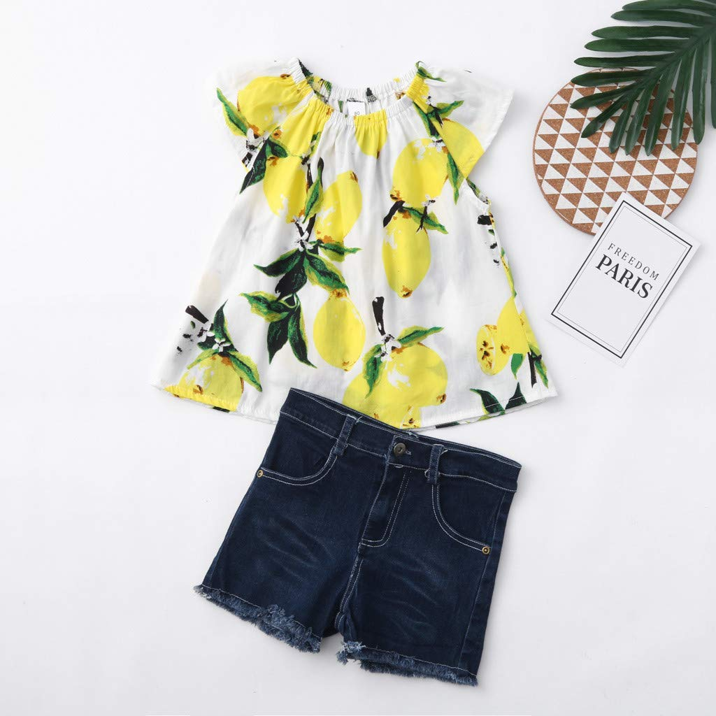 2019 Baby Girl Outfits, 2-Peice Toddler Kids Fruits Lemon Print Tops Shirt +Hole Denim Jean Shorts Clothes Sets (2-3 Years, Yellow) by Hopwin Baby girls Suits (Image #4)