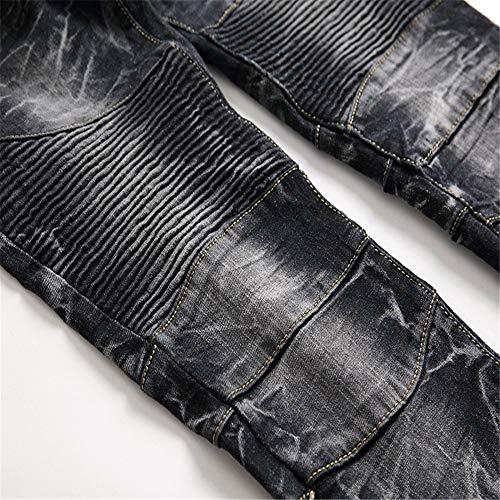 Uomo Da colore Jeans In Di Skinny Dimensione Blu Alla 32 Moda Dritti Yiwuhu Fori Stile Strappati A Cerniera Nero Strappato 1P7ZnSwqF