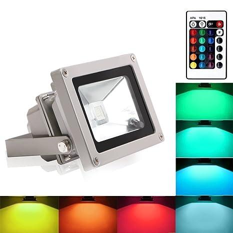 84ed32675 Blinngo 10W RGB Foco LED Proyector de Exterior impermeable IP65 LED Foco de  Colores Adaptado para