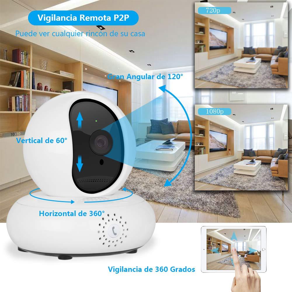 Rovtop Cámara IP 1080p HD - Sistema de Vigilancia WiFi, Detección de Movimiento, Visión Nocturna, Audio Bidireccional, Rotación 360°, Email Alarma, ...