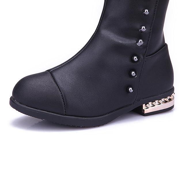 Shenn Mädchen Kinder Mode Kniehohe Winter Reißverschluss Leder Stiefel & Stiefeletten(Kleinkind,27EU)