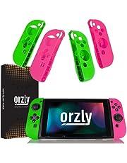 ORZLY® FlexiCase 4-Pack für Nintendo Switch Joy-Con Controller - Packung beinhaltet 2X Rosa & 2X Grüne Schutzhülle