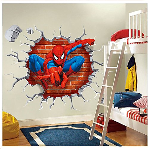 NOMSOCR 3D Wall Stickers, Vinyl Stickers DIY Family Decor Wall Art for Kids Living Room Bedroom Bathroom Tile Office Home Decoration (Spider Man) by NOMSOCR
