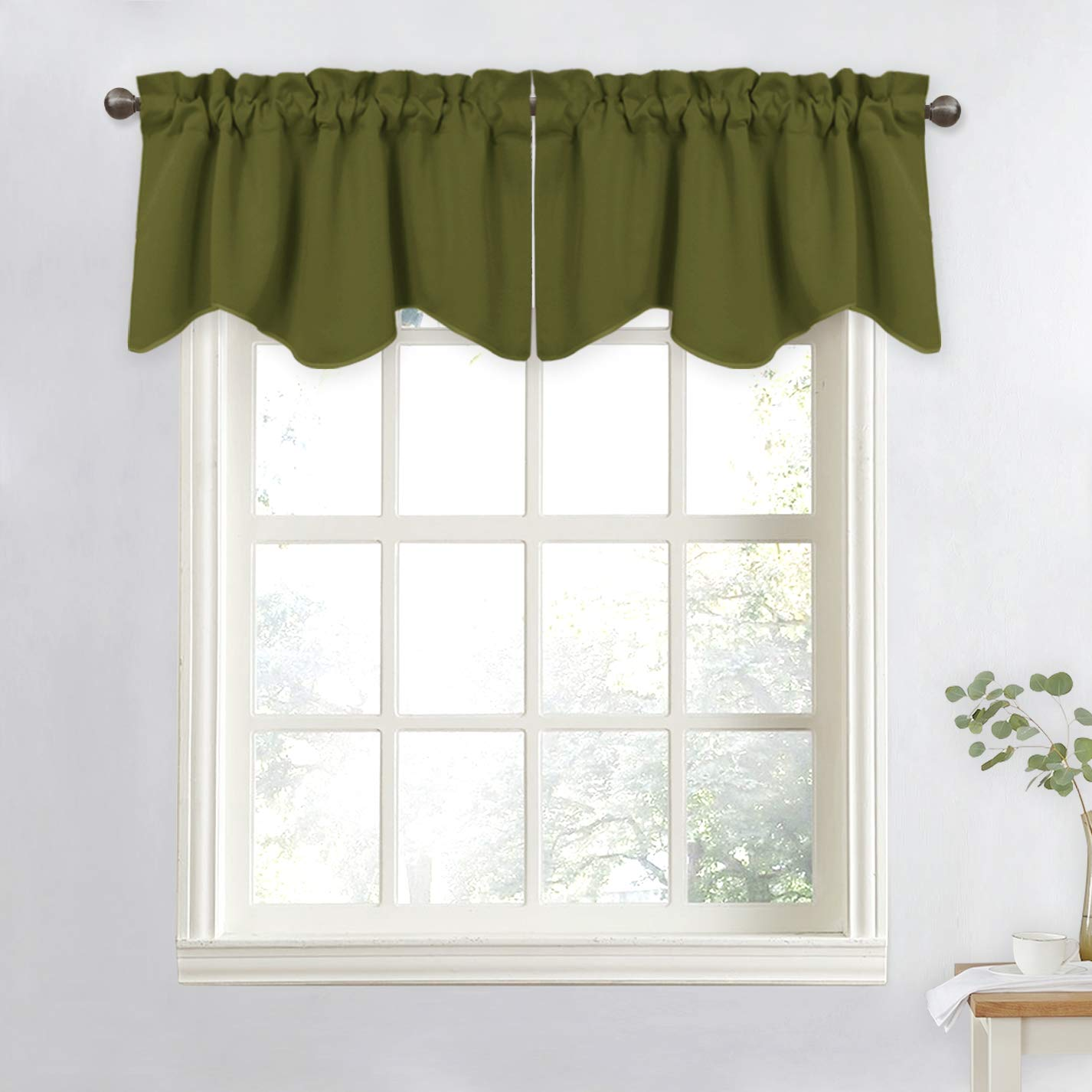NICETOWN Blackout Curtain for Boys Room - 52 inches by 18 inches Solid Scalloped Valance for Bedroom/Kitchen/Living Room/Bathroom/Bay Window (Olive Green, 1 Panel)
