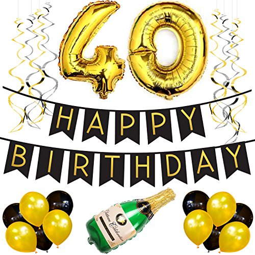 40th Birthday Party Pack Black Gold Happy Bunting Poms And Swirls