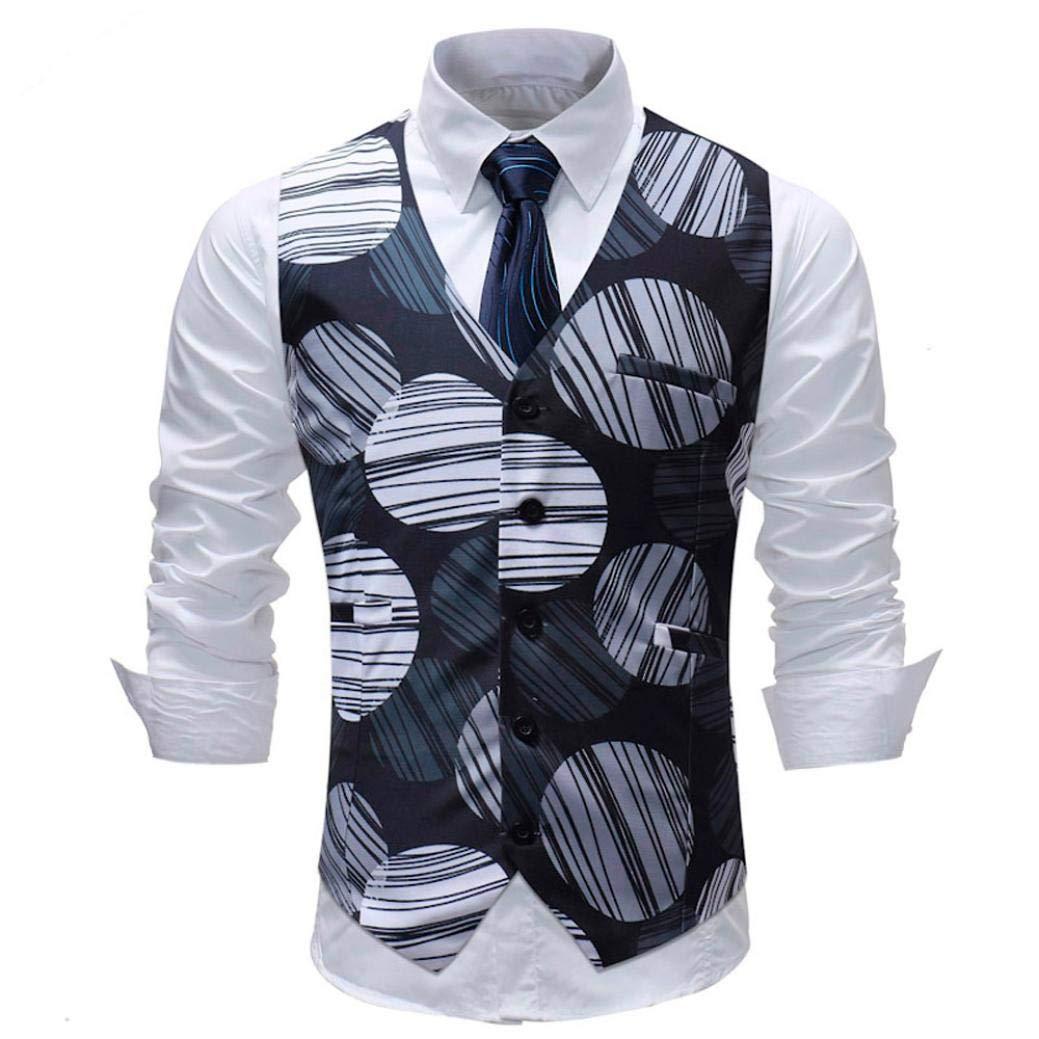 Dinglong Men's 5-Buttons Classic Paisley Floral Jacquard Waistcoat V Neck Pocket Square Vest Suit