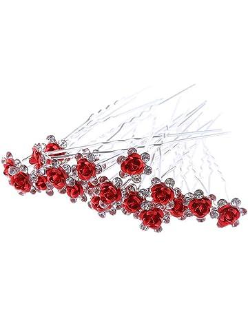 Doitsa 20 Pcs Bijoux Epingle à Cheveux Mariage en Forme de Fleur Broche  Cheveux Forme de 73beb92a5de0