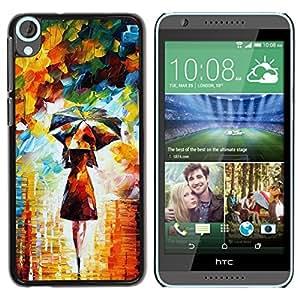 iBinBang / Funda Carcasa Cover Skin Case - Pintura colorida del arte de la muchacha mujer paraguas - HTC Desire 820