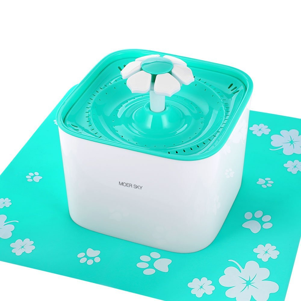 Moer Sky Pet Fountain Cat Water Dispenser-Healthy Hygienic Drinking Fountain 2L Super Quiet Automatic Water Bowl Filter Silicone Mat Dogs, Cats, Birds Small Animals (Pet Fountain) by Moer Sky (Image #2)