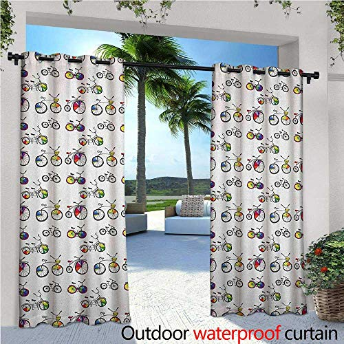 Bicycle Patio Curtains Hand Drawn Penny-Farthing Tandem and City Bikes with Colored Rims Cartoon Style Outdoor Curtain for Patio,Outdoor Patio Curtains W96 x L108 Multicolor ()