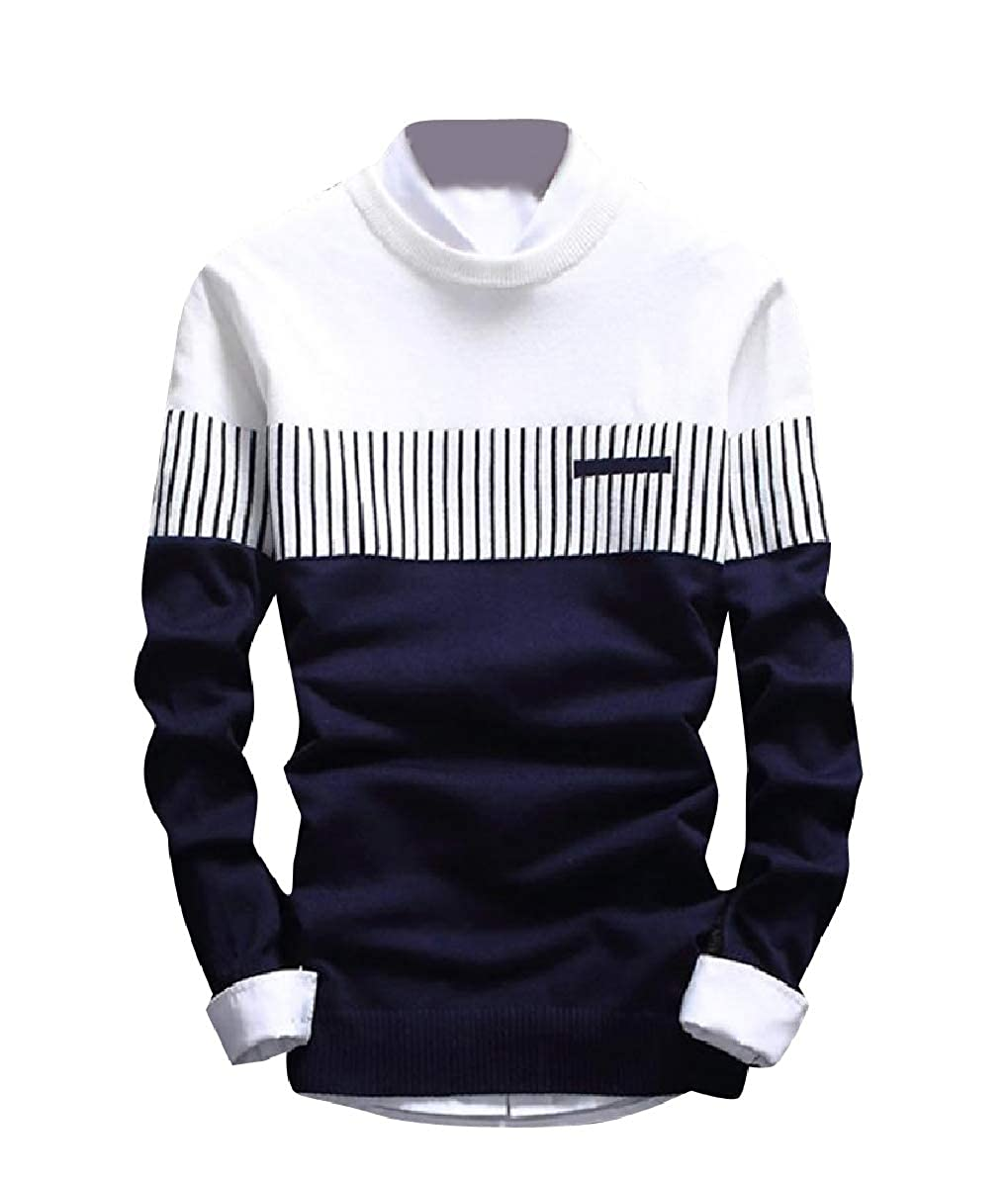 YUNY Mens Essential Casual Leisure Slim Stripes Crew Neck Sweater White S