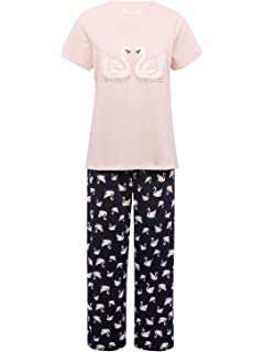 M Co Ladies Short Sleeve T-Shirt Full Length Bottoms Swan Print Pyjama Set 2a9a4e5e3
