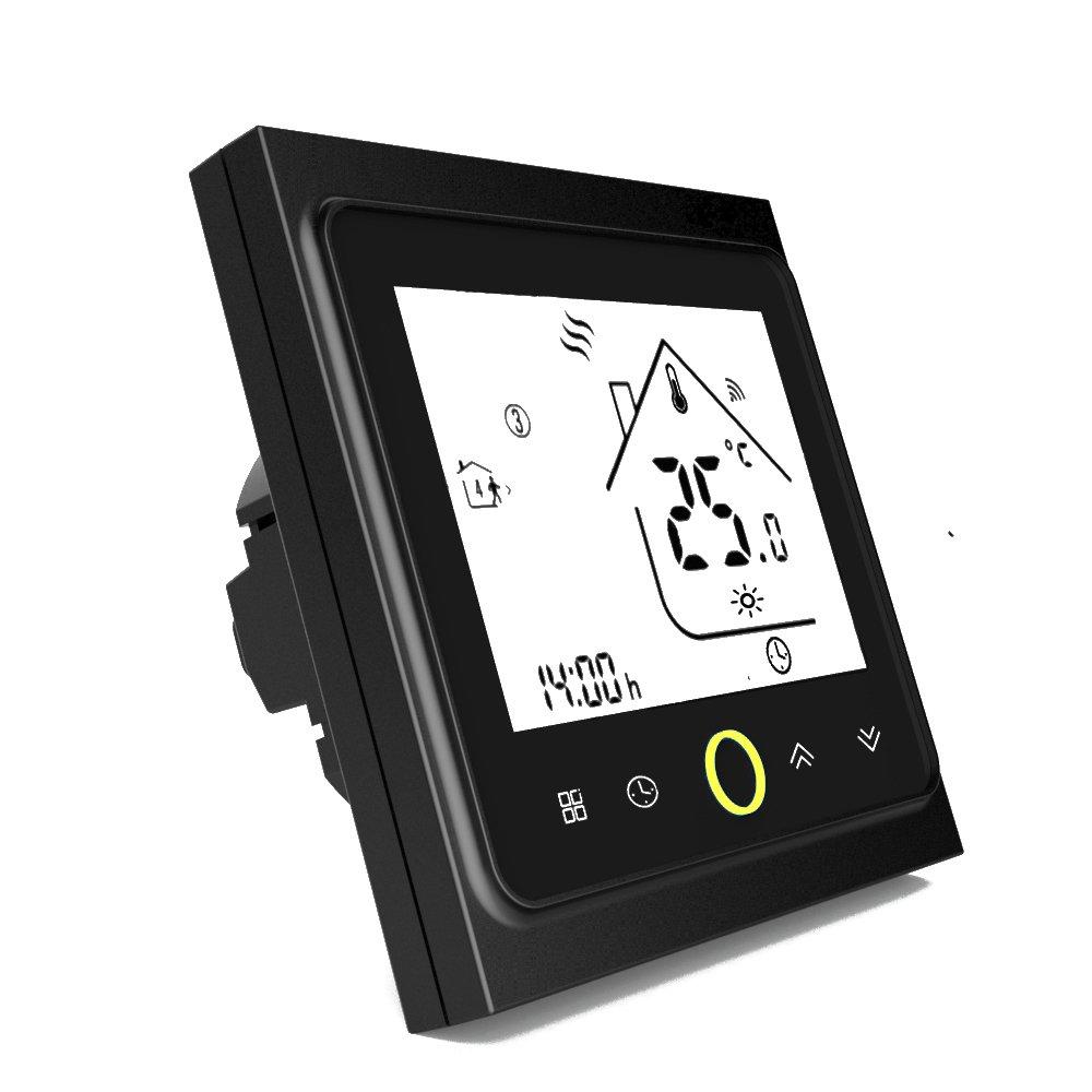 Onepeak Termostato Wifi programable Agua/Caldera de gas Termostato Pantalla LCD Controlador de temperatura Funciona con Alexa Google Inicio 3A