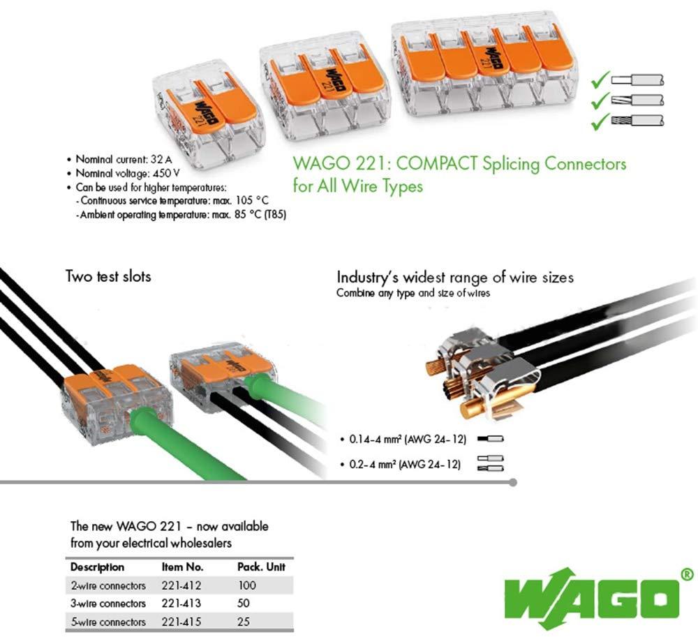 Davitu 25pcs 221-415 Original Davitu connector, led splice, COMPACT Splicing Connectors; 5-conductor connector,Davitu terminals