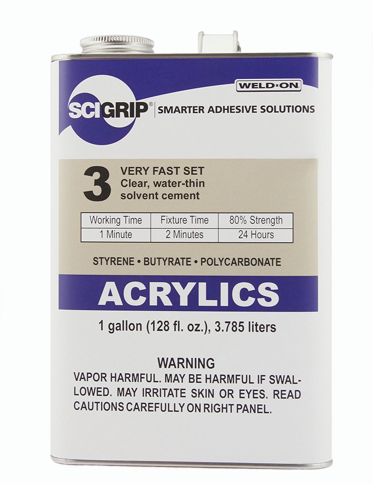 SCIGRIP 3 10299 Acrylic Solvent Cement, Low-VOC, Water-thin, 1 Gallon Can with Screw-on Cap, Clear IPS Corporation