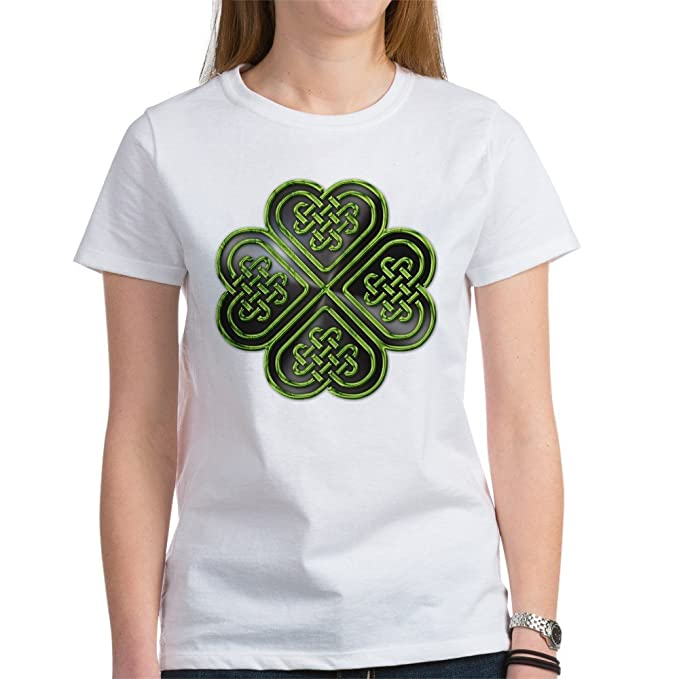 6043d178 CafePress - Celtic Knot Shamrock Women's T-Shirt - Womens Cotton T-Shirt,