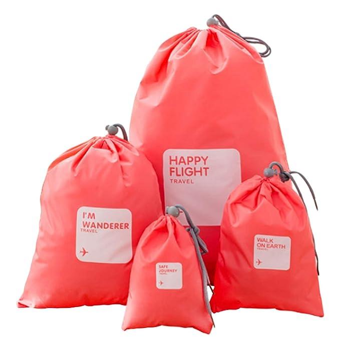4 Diferentes tamaños de viaje Bolsas de embalaje con cordón ...