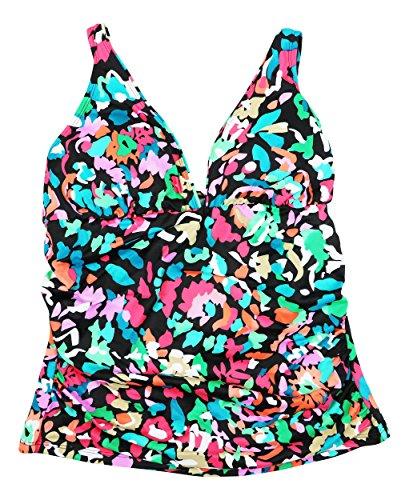 - Swim Solutions Women's Color Take Floral-Print Shirred Tummy-Control Tankini Top (Multicolor, 12)