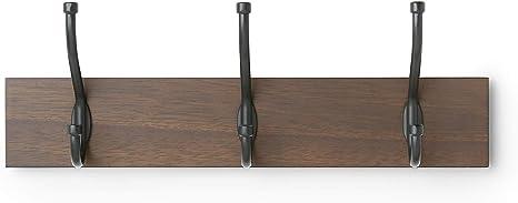 Oferta amazon: AmazonBasics - Perchero de madera de pared, 3 ganchos estándar 34 cm, Nogal