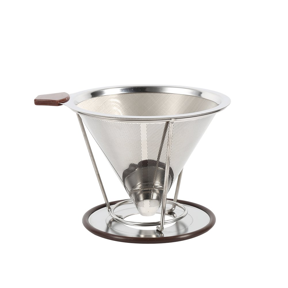 SoarUp Portable 304 Stainless Steel Pour Over Coffee Dripper Double Layer Mesh Coffee Cone Filter Holder