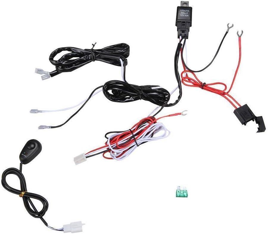 Voiture ampoule de brouillard/ /Maso 2,4/m 40/A Interrupteur dalimentation et Relais kit Faisceau de c/âblage 12/V pour barre lumineuse LED Offroad