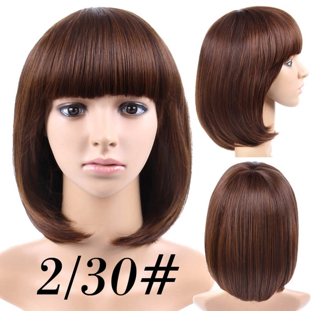 Amazon.com : Cheap Short Bob Wig Brown Color #4 With Bangs for Women Full Head Colorful Cosplay Daily Party Anime Best Synthetic Wigs Straight Real Fiber ...