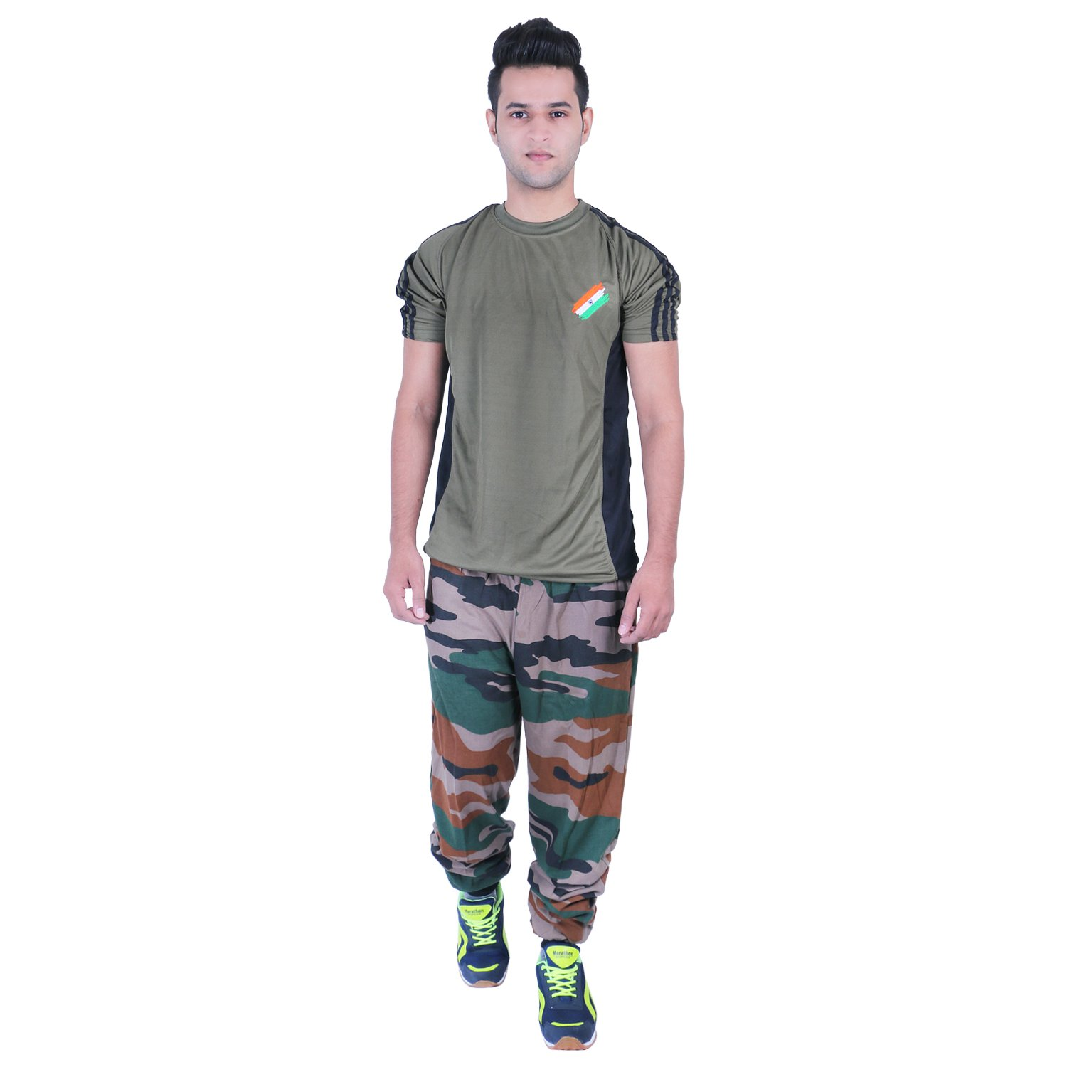 f0842d226c482 Army Print Flag T-Shirt Half Sleeves: Amazon.in: Clothing & Accessories