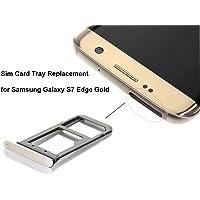 Bright New Sim Card Tray Holder/Sim Tray Replacement for Samsung Galaxy S7 Edge(Dual sim) (Gold)