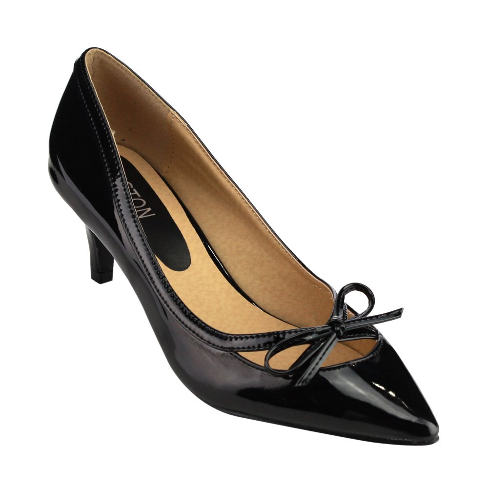 Vintage Style Shoes, Vintage Inspired Shoes Pointed Toe Low Heels Bowknot Deco Pump $27.49 AT vintagedancer.com