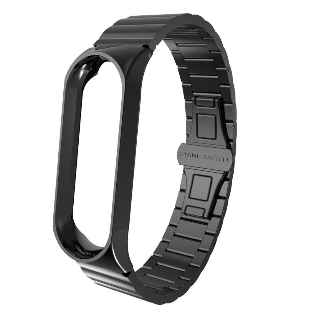 Outsta for XiaoMi MI Band 3 Sports Replacement Wristband, 304 Stainless Steel Watch Band Strap Accessories Smart Watch Fitness Activity Heart Rate Tracker Blood Pressure Watch (Black)