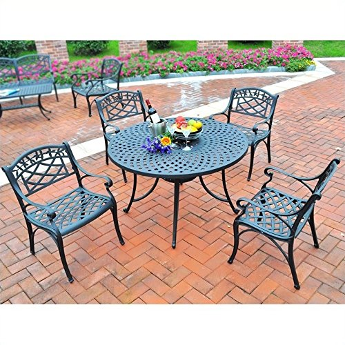 Crosley Furniture Sedona 5-Piece Solid-Cast Aluminum Outdoor Dining Set with 42-inch Table and 4 Arm Chairs - Black (Cast Aluminum Chair)