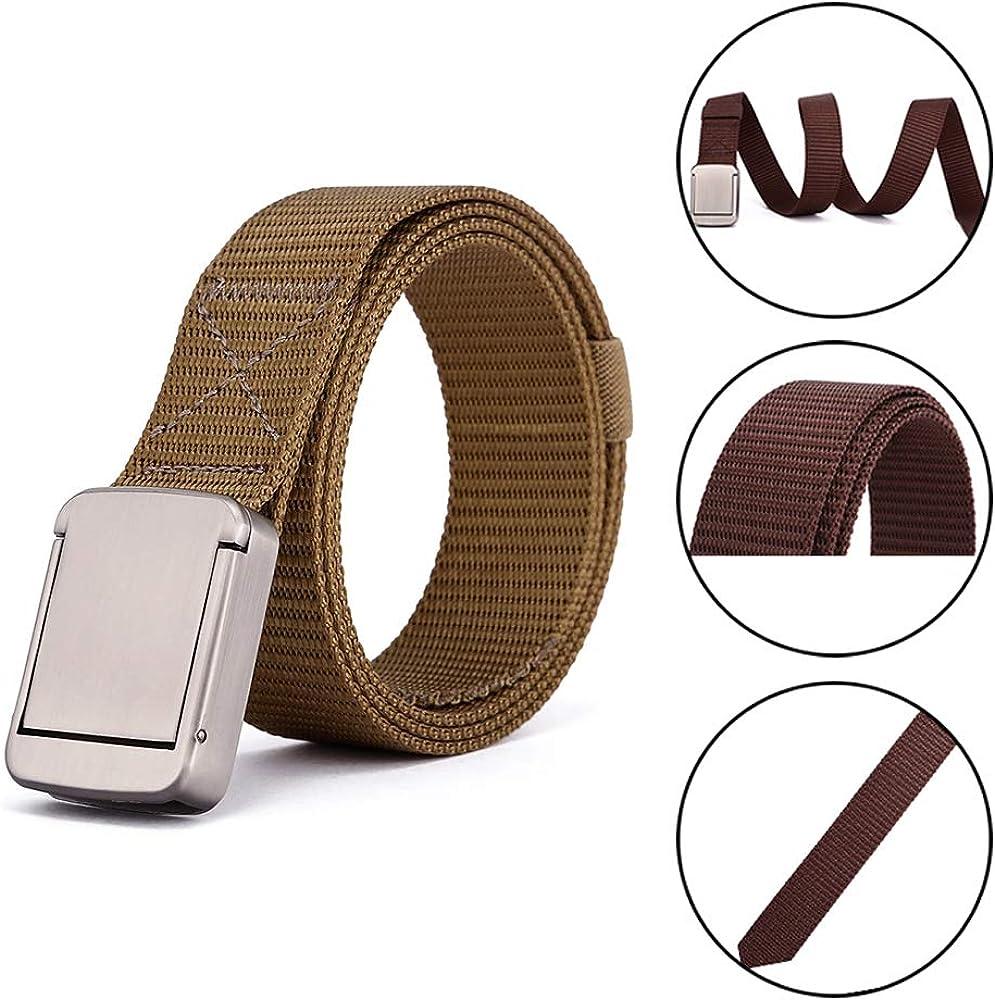 XFentech Womens /& Mens Nylon Belts Elastic Webbing Waist Belt Alloy Buckle