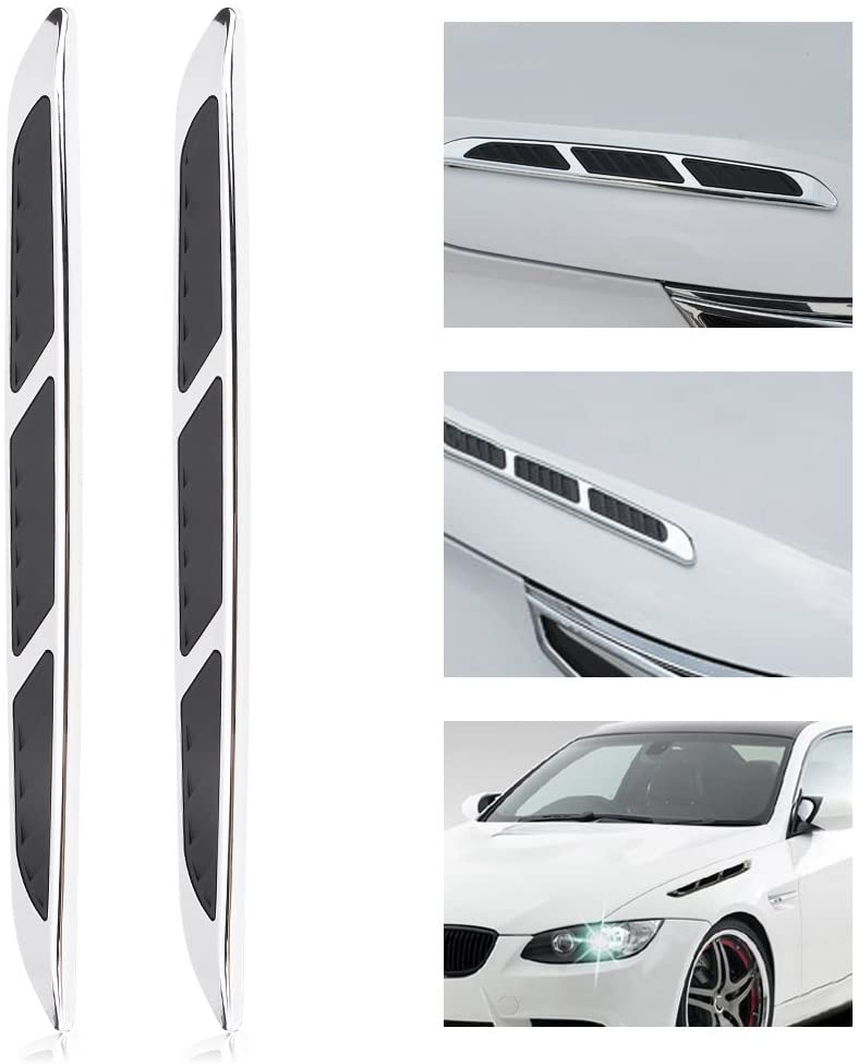Qiilu 2pcs Universal Hood Vent Air Flow Intake Chrome Grille Side Scoop Hood Cover Car Exterior Hood Side Door Decorative Cover Trim Sticker