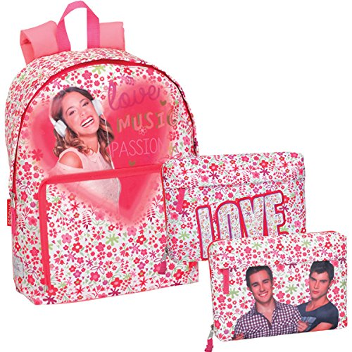 Violetta – Mochila junior, color blanco y rosa (Montichelvo 29995)