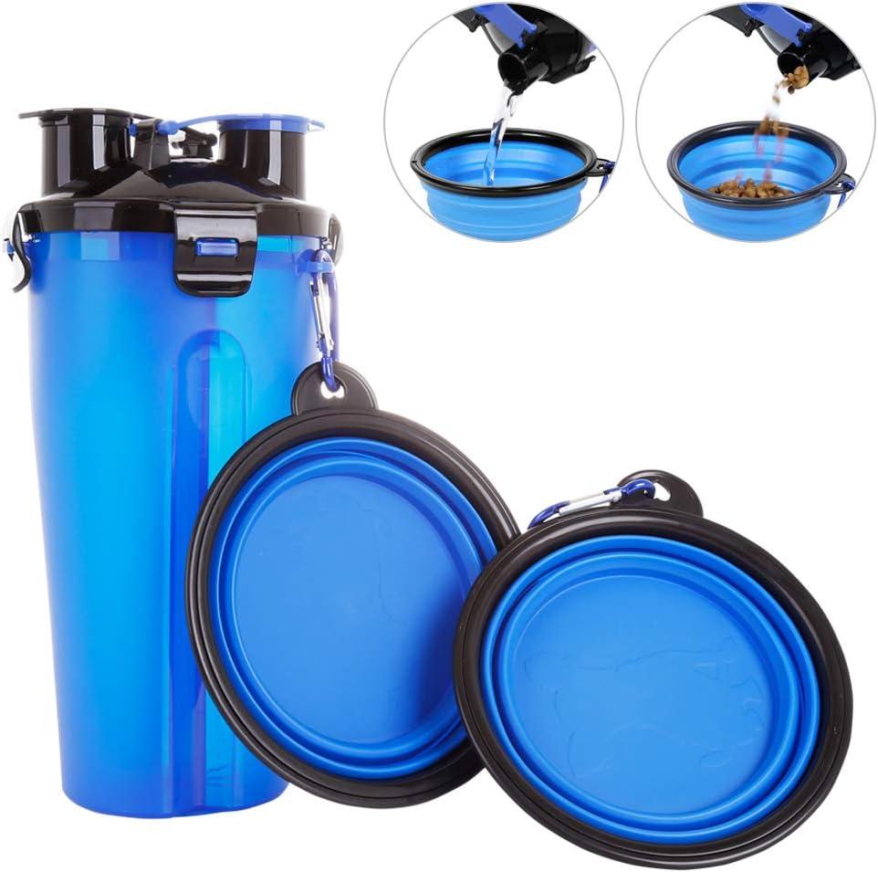 Powerking Botella de Agua para Perro, 350ml 2 en 1 PP para Mascotas, y Botella para Perro con 250 g Contenedor de alimento para Mascotas para Caminar/Viajar, tazones Plegables para Perros(Azul)