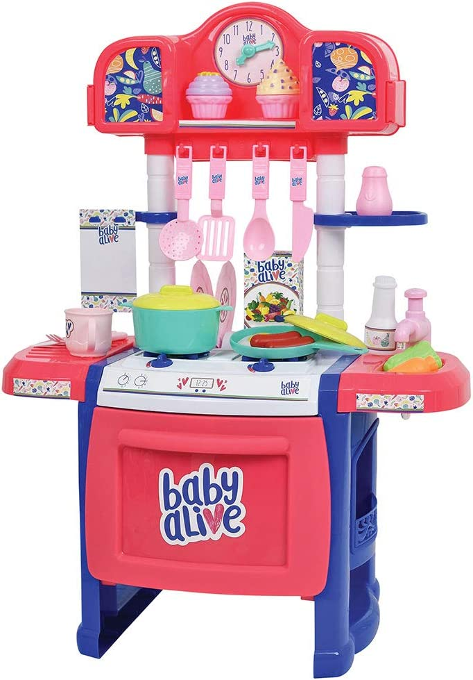 Baby Alive Doll Kitchen with 21 Assorted Play Pieces, Interactive Stove and a Real Working Water Pump with Sink