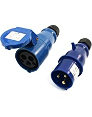 uxcell Waterproof IEC309-2 2P+E Industrial Connector Socket Blue AC 220-240V 16A