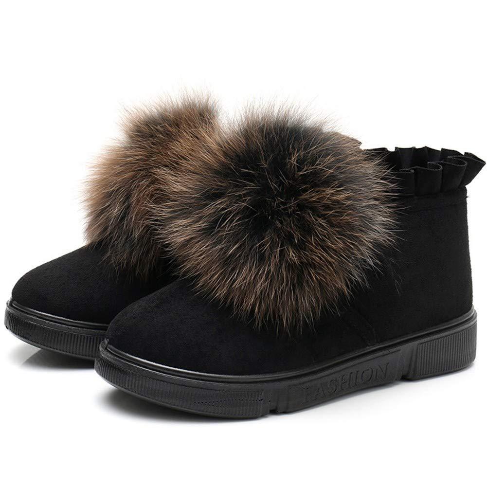 HBVOMWSX Mode Damen Pelz Schuhe Winter warm Damenschuhe Casual Baumwolle Stiefel schwarz
